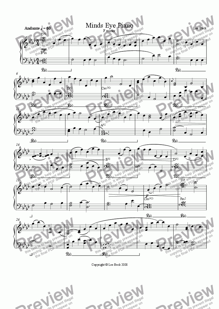 page one of Minds Eye piano