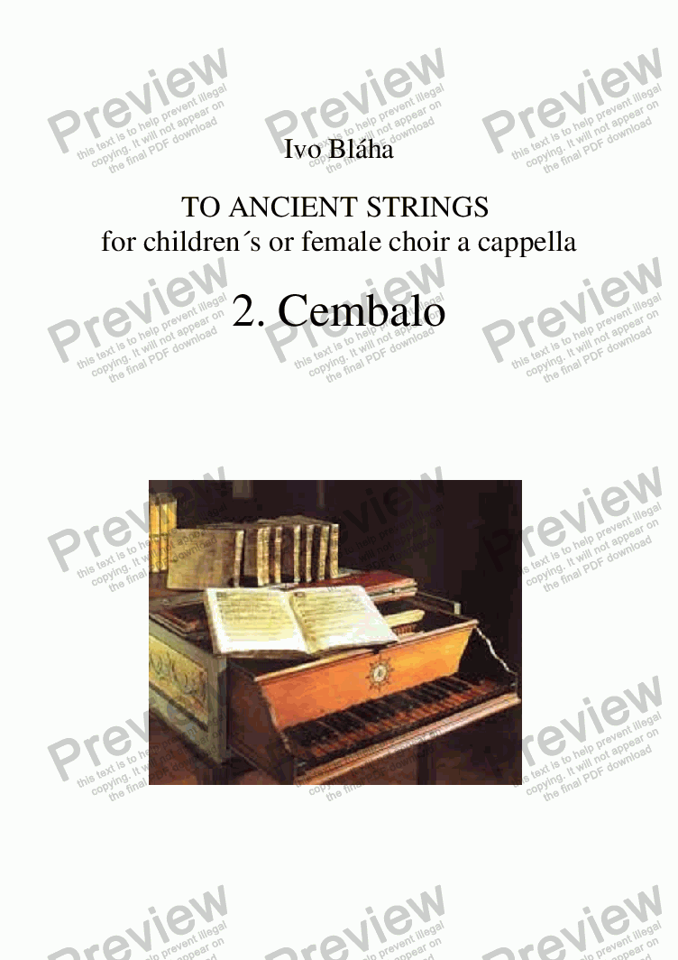 page one of CEMBALO for children's or female choir a cappella (English words)