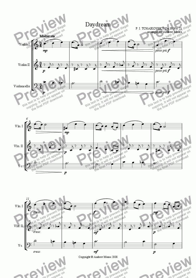 page one of 'Daydream' for string trio