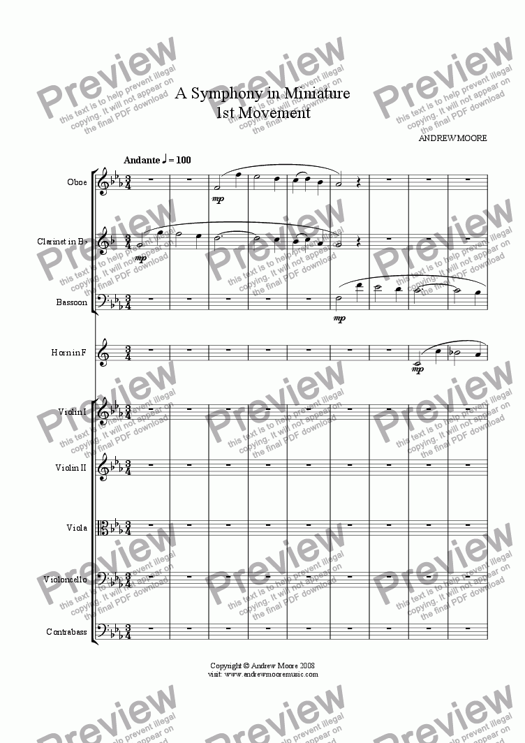 page one of Symphony in Miniature - 1st Movement - for chamber orchestra (or nonet)