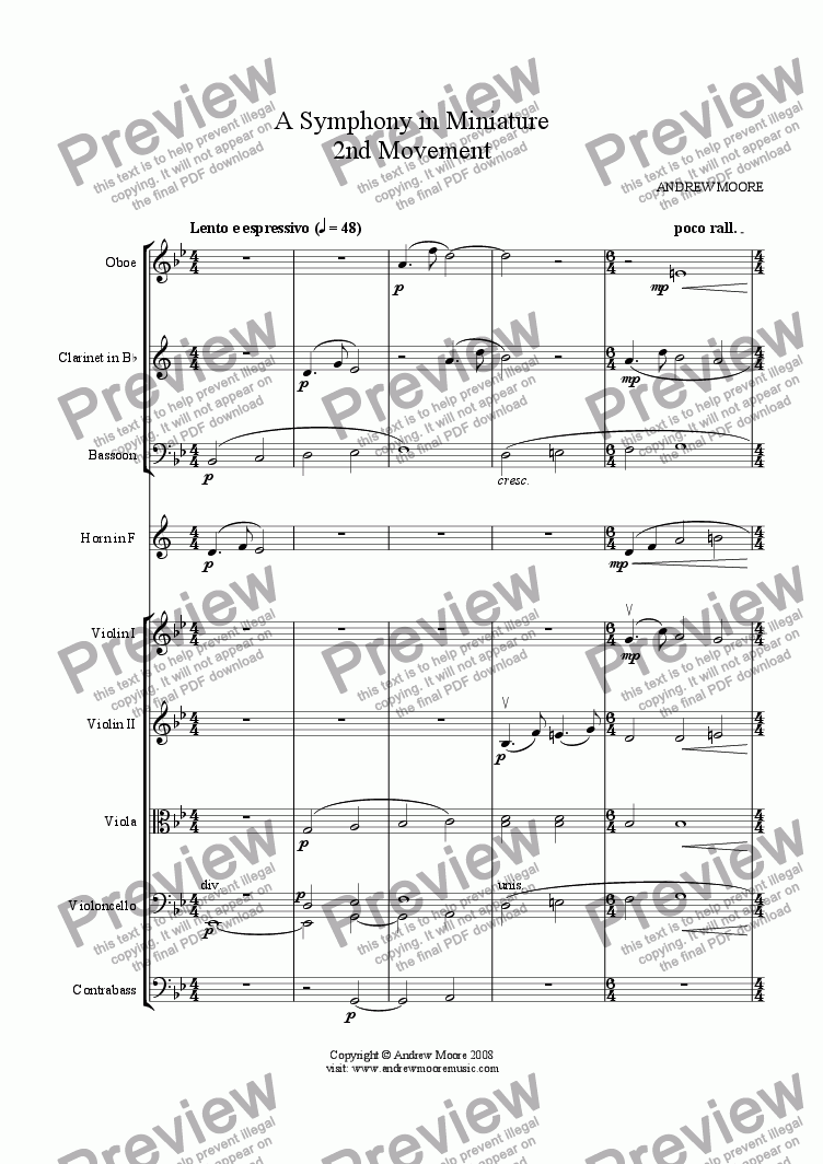page one of Symphony in Miniature - 2nd Movement - for chamber orchestra (or nonet)