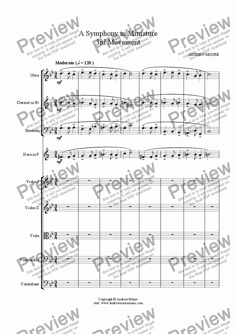 page one of Symphony in Miniature - 3rd Movement - for chamber orchestra (or nonet)