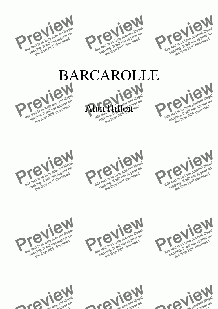 page one of Barcarolle for Bassoon & String Quartet