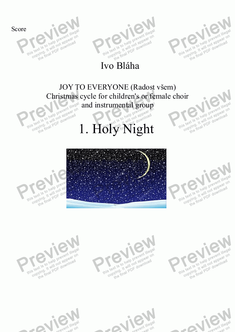 page one of HOLY NIGHT (Svatá noc) for children's or female choir and group of instruments (English words)