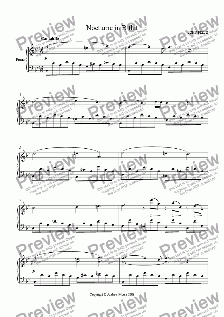 page one of Nocturne in B flat for piano solo