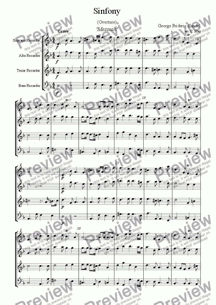 page one of Sinfony ('Messiah')