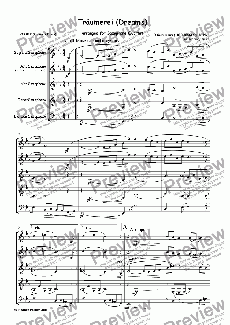 page one of Traumerei (Dreams)