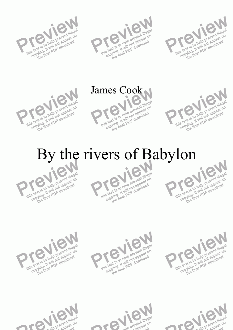 page one of By the rivers of Babylon