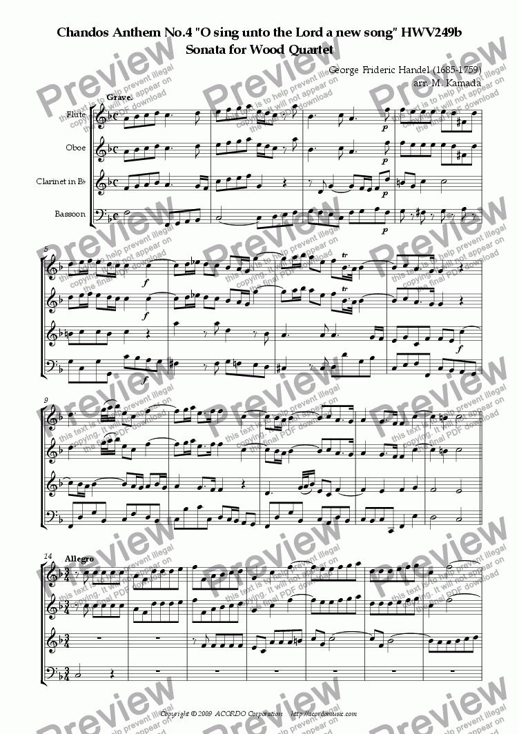 "page one of Chandos Anthem No.4 ""O sing unto the Lord a new song"" HWV249b Sonata for Wood Quartet"