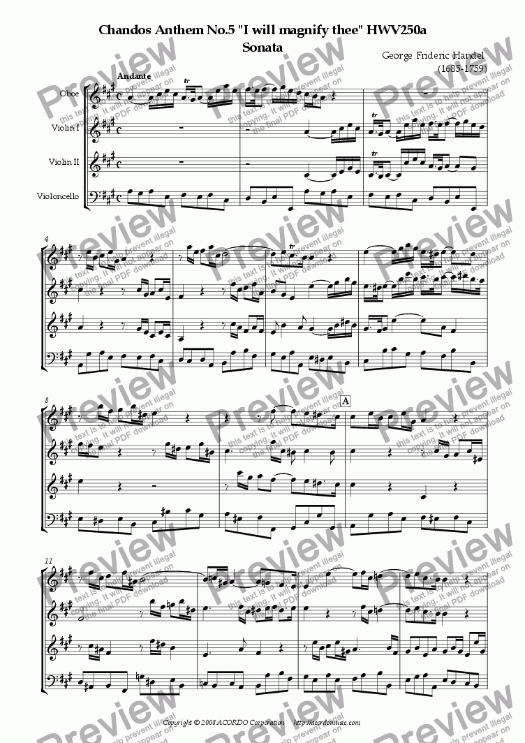"page one of Chandos Anthem No.5 ""I will magnify thee"" HWV250a Sonata"