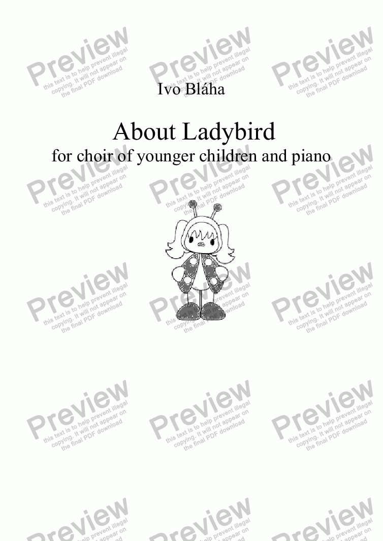 page one of ABOUT LADYBIRD (O berušce) for choir of younger children and piano (English words)ASALTTEXT
