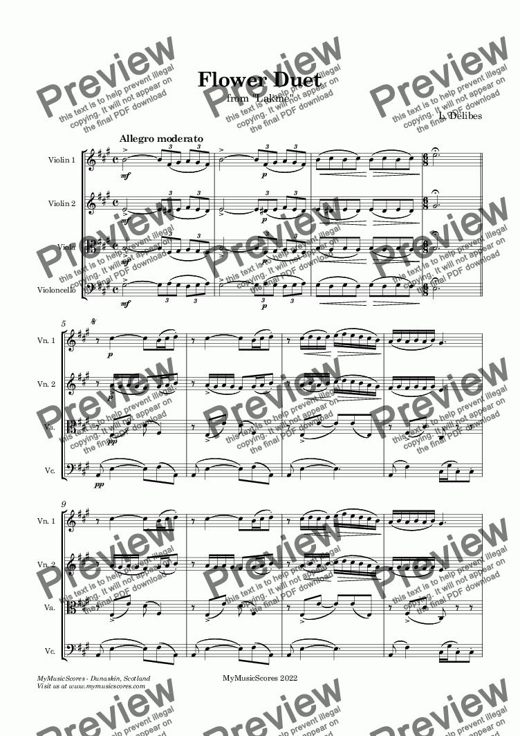 page one of Delibes Flower Duet for String Quartet
