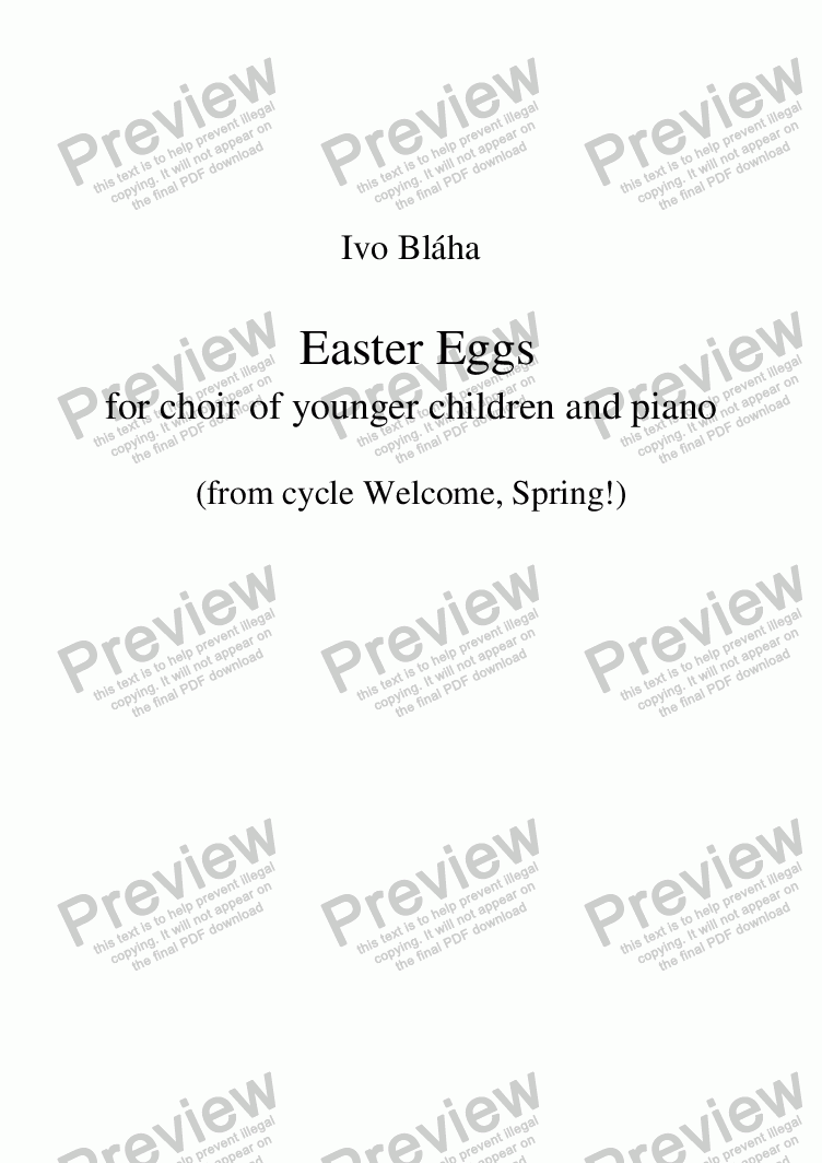 page one of EASTER EGGS (Kraslice) for children's choir and piano (English words)
