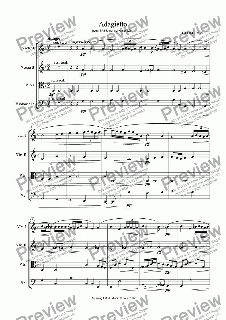 page one of 'Adagietto' from L'Arlesienne Suite No 1. for string quartet (or orchestra)