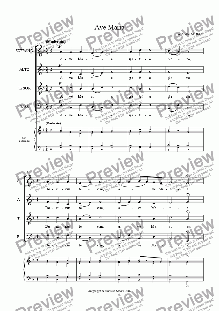 page one of 'Ave Maria' for SATB
