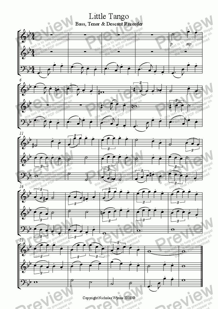 page one of Little Tango for Recorder Trio