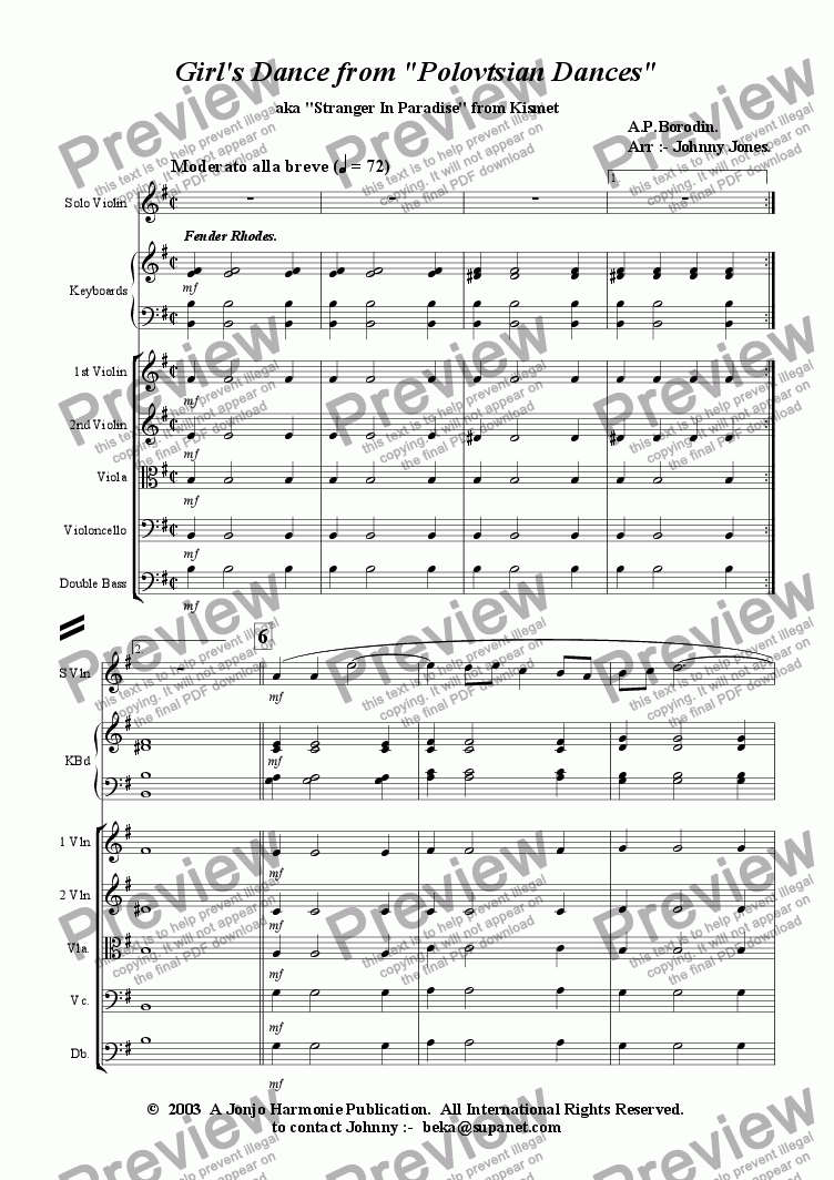 page one of Girl's Dance from 'Polovetsian Dances'   (Solo Violin and Strings)