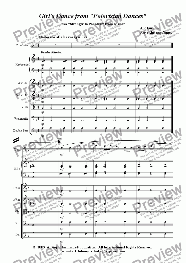 page one of Girl's Dance from 'Polovetsian Dances'    (Trombone and Strings)