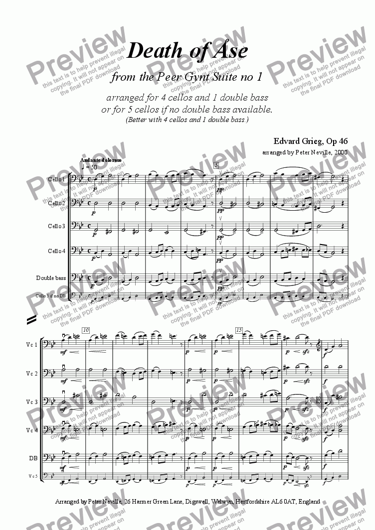 page one of Death of Åse (Grieg) for five cellos OR 4cellos+1dble.bass