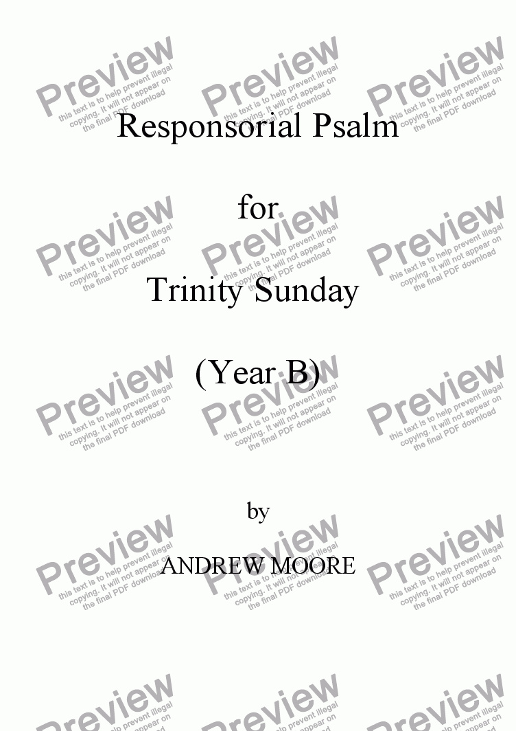 page one of Trinity Sunday (Year B)