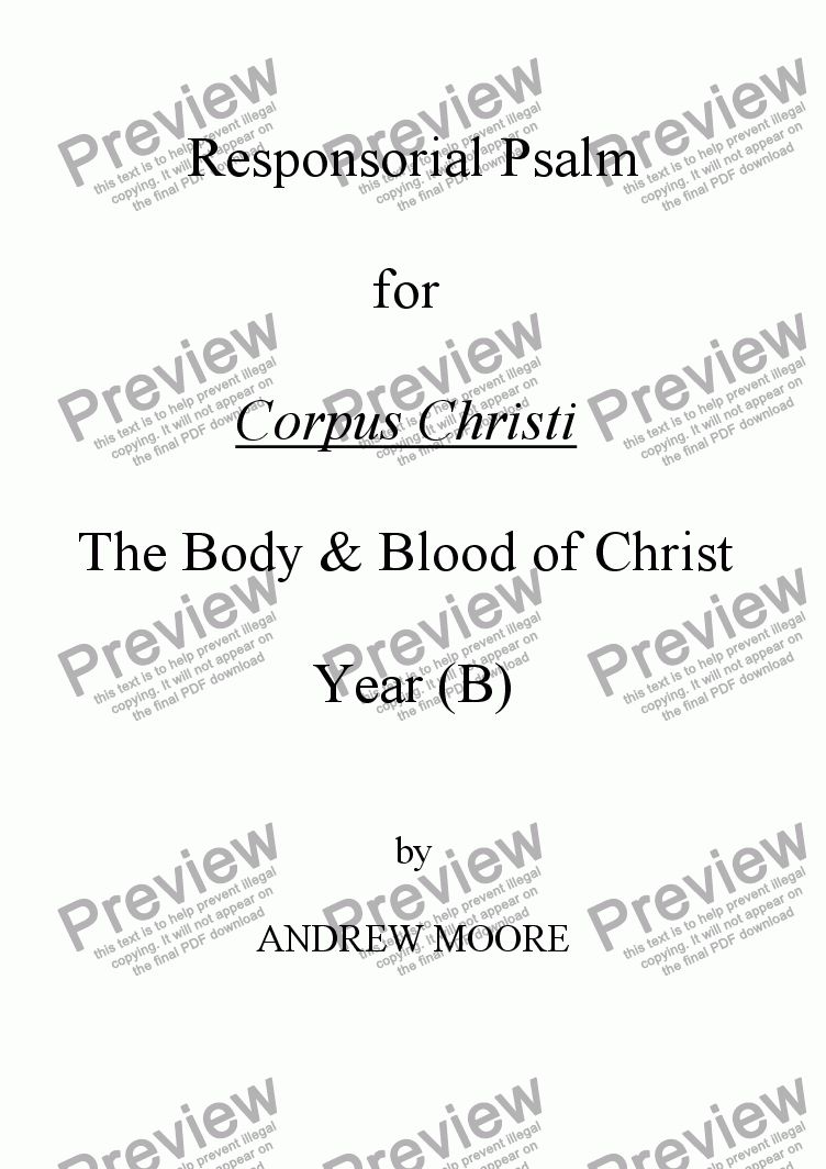 page one of Corpus Christi (Year B)