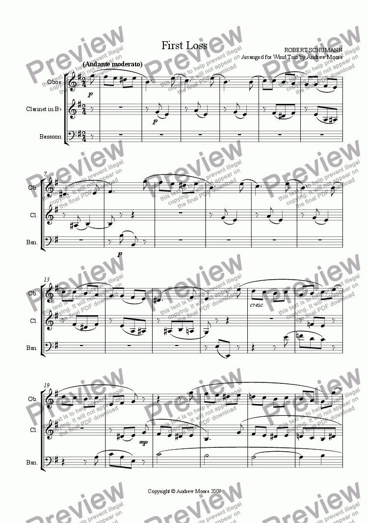 page one of 'First Loss - Erster Verlust'  Op.68, No.16 for Wind Trio