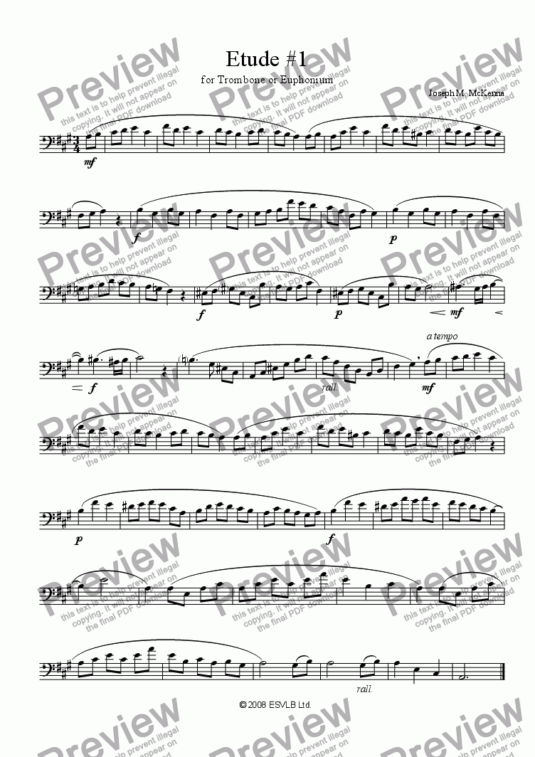page one of Etude #1 for Trombone or Euphonium