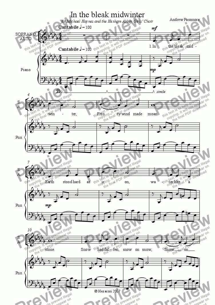 page one of In the bleak midwinter SATB