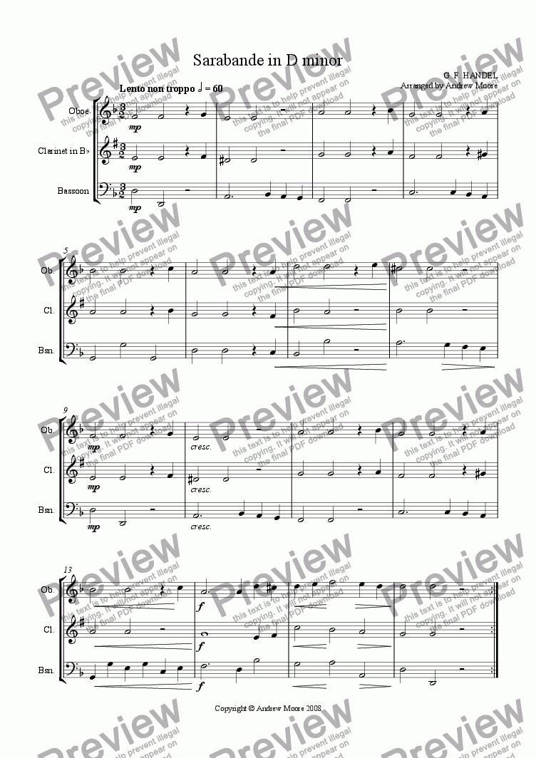 page one of Sarabande in D minor arr. for Wind Trio
