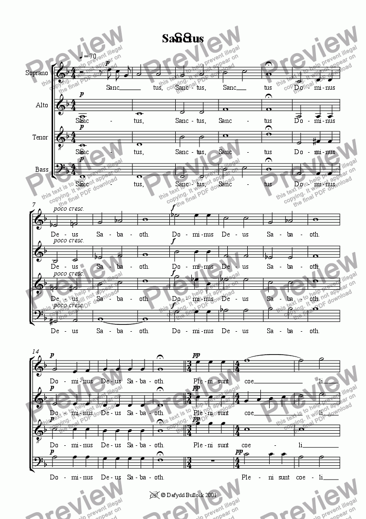 page one of Missa Brevis: Sanctus