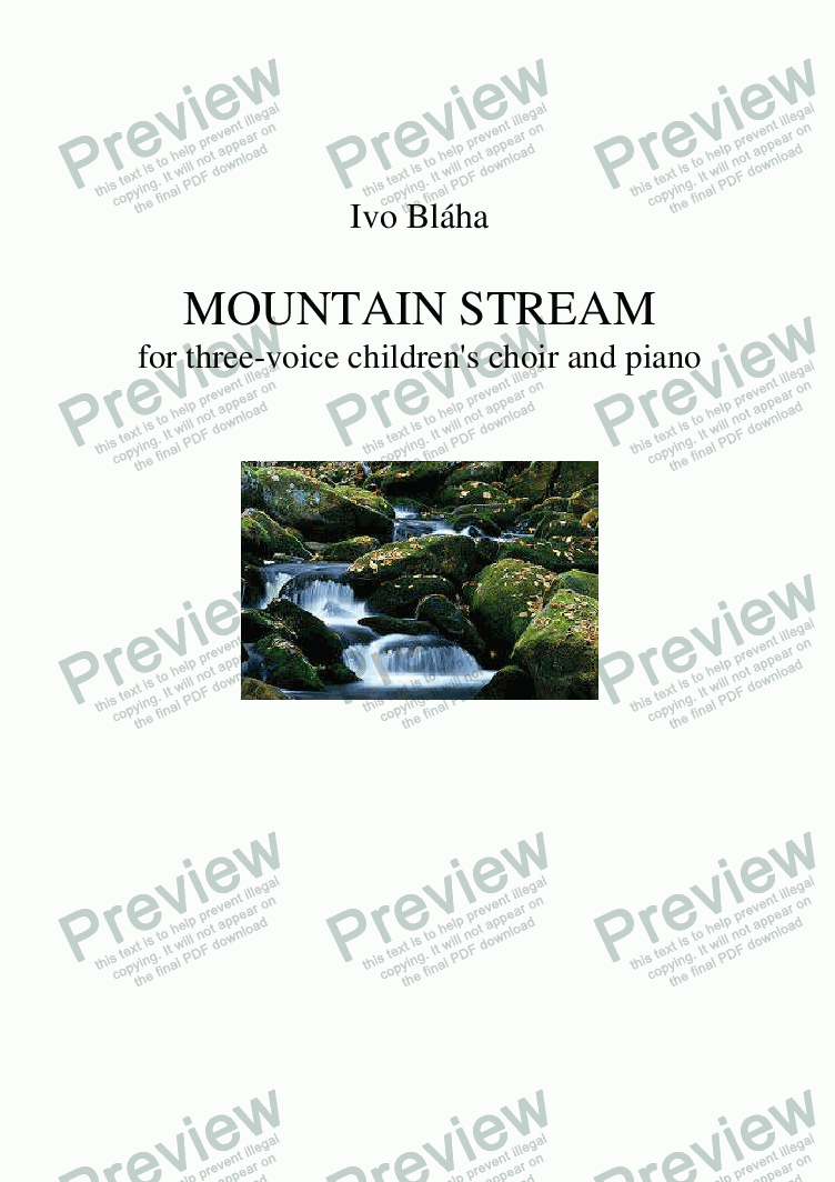 page one of MOUNTAIN STREAM for three-voice children's choir and piano (English words)