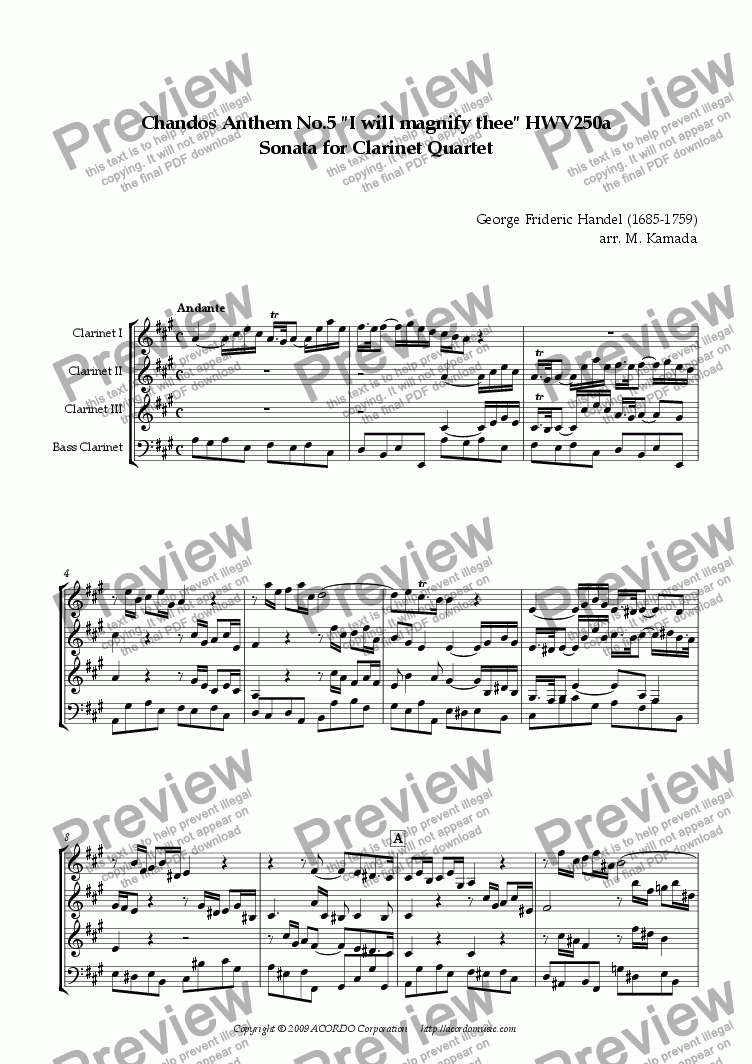 "page one of Chandos Anthem No.5 ""I will magnify thee"" HWV250a Sonata for Clarinet Quartet"