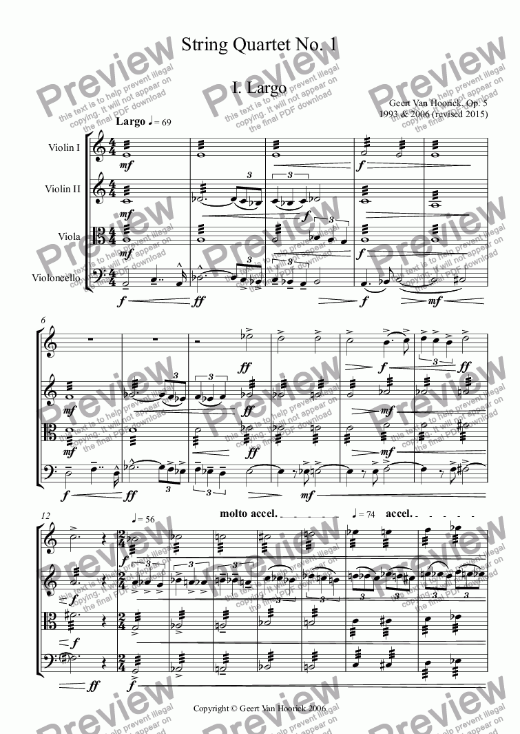 page one of String quartet No. 1, Op. 5 - I. Largo