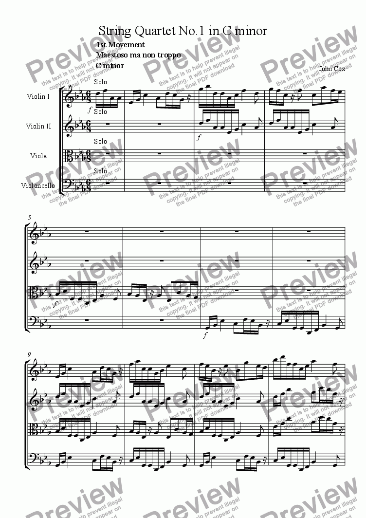 page one of String Quartet No.1 in C minor
