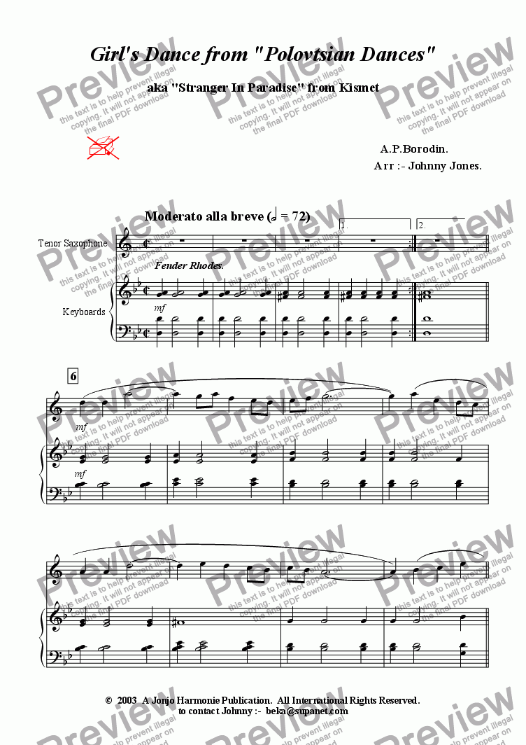 page one of Girl's Dance from 'Polovetsian Dances'    (Tenor Saxophone and Piano)