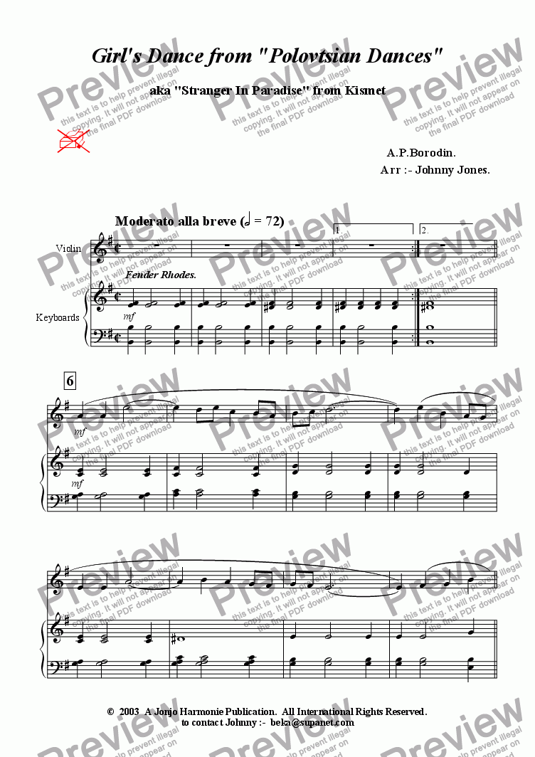 page one of Girl's Dance from 'Polovetsian Dances'   (Violin and Piano)