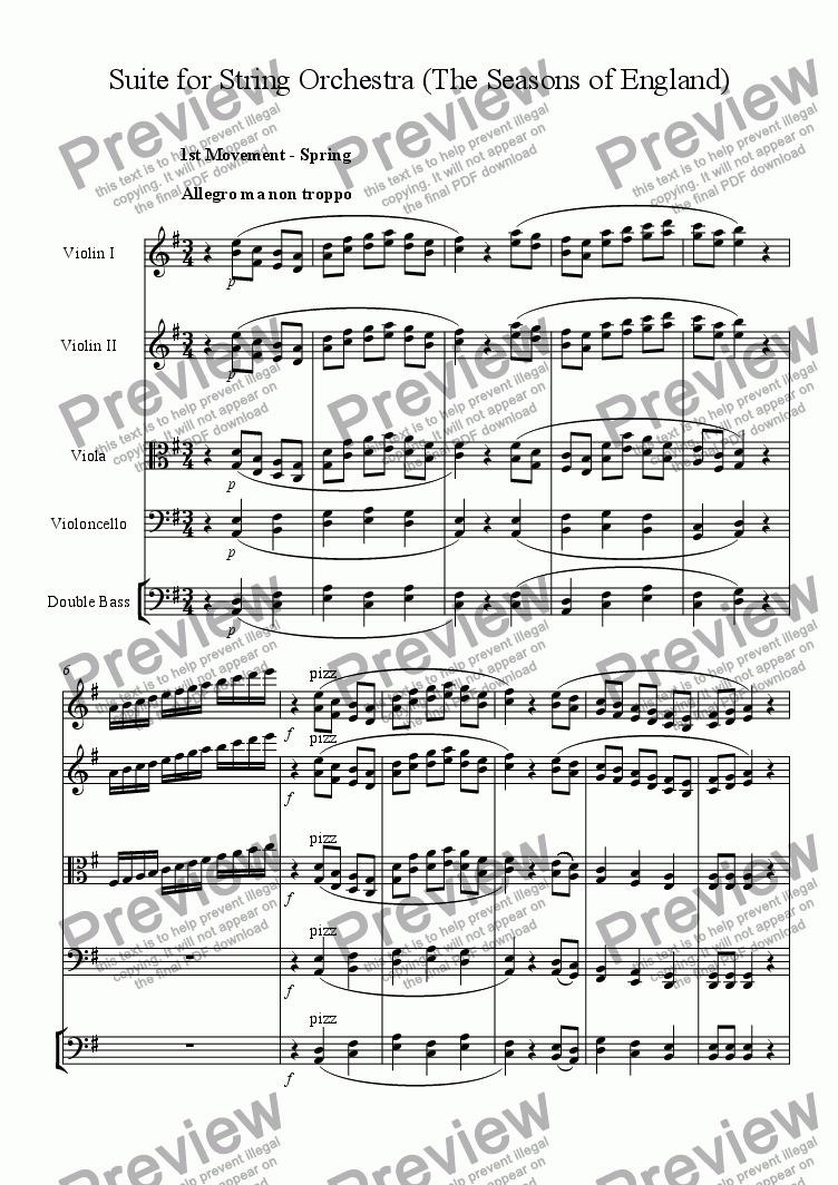 page one of Suite for String Orchestra (The seasons of England)