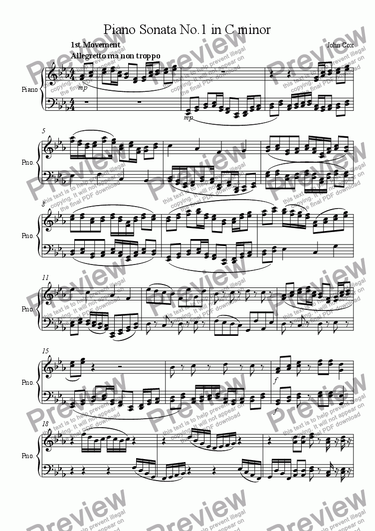 page one of Piano Sonata No.1 in C minorASALTTEXT
