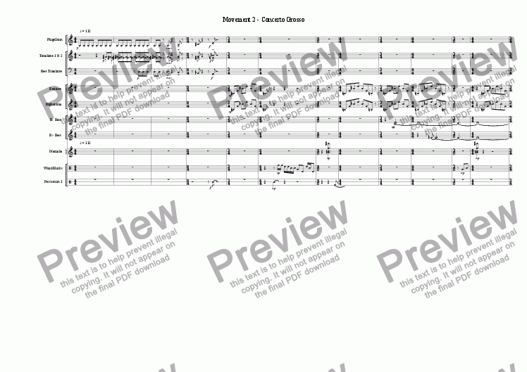 page one of Symphony for Brass Band - Movement 2 - Concerto Grosso