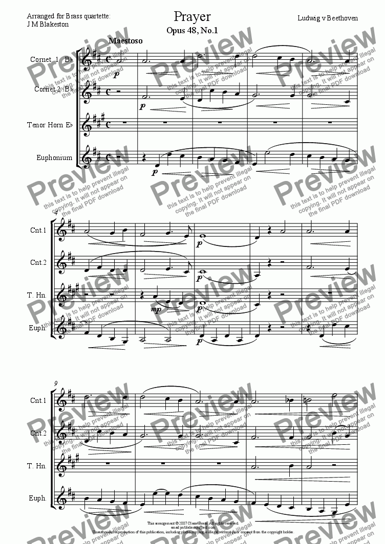 page one of Prayer (Brass Quartette)