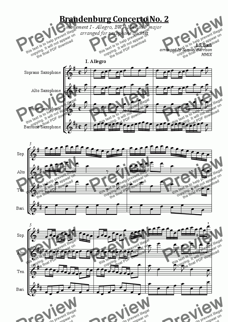 page one of Brandenburg Concerto No. 2  (I. Allegro) - BWV 1047 in F major (for saxophone quartet)