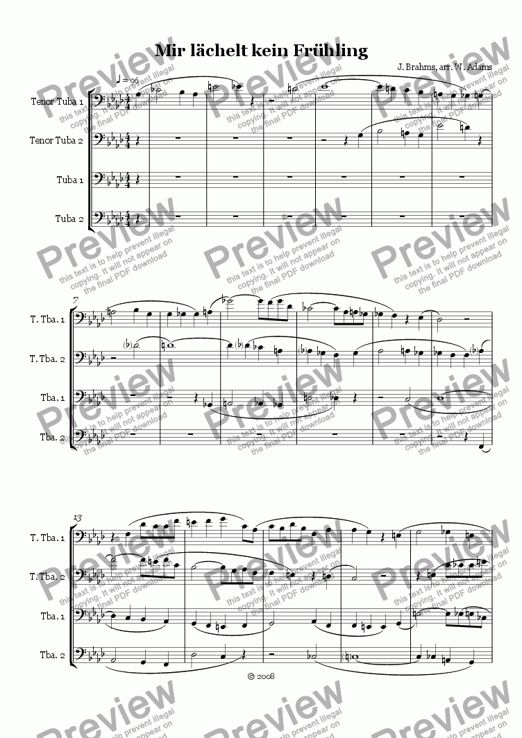 page one of Two Brahms Pieces for Tuba Quartet