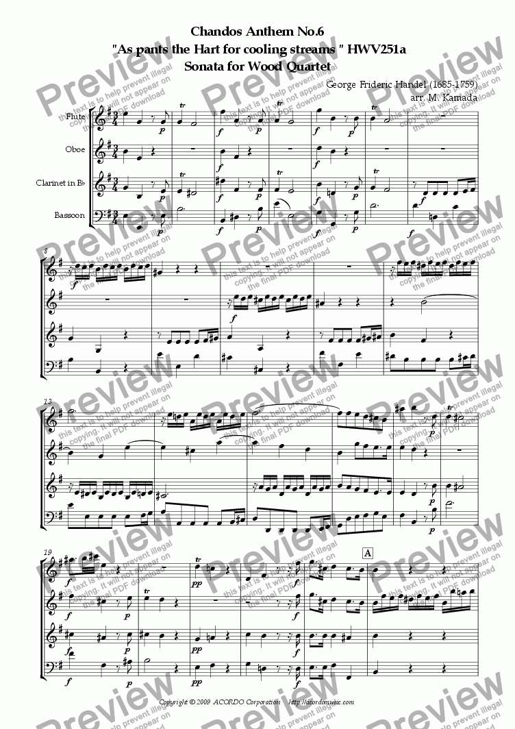 "page one of Chandos Anthem No.6  ""As pants the Hart for cooling streams"" HWV251a Sonata for Wood Quartet"