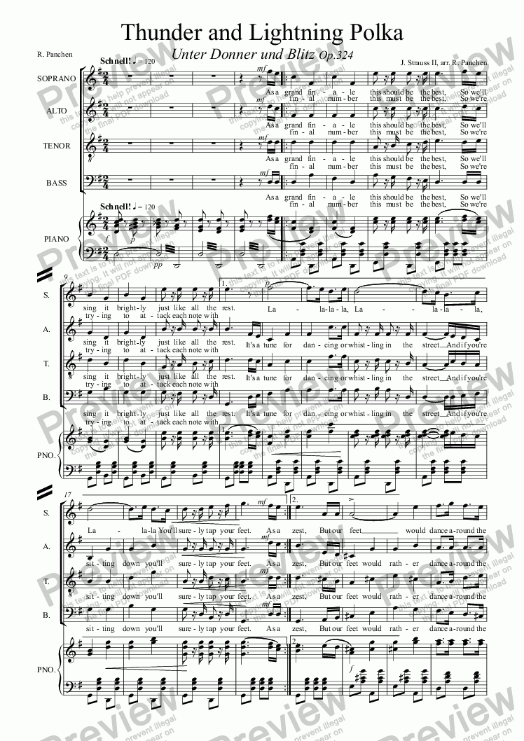 page one of Thunder and Lightning Polka,  RV324