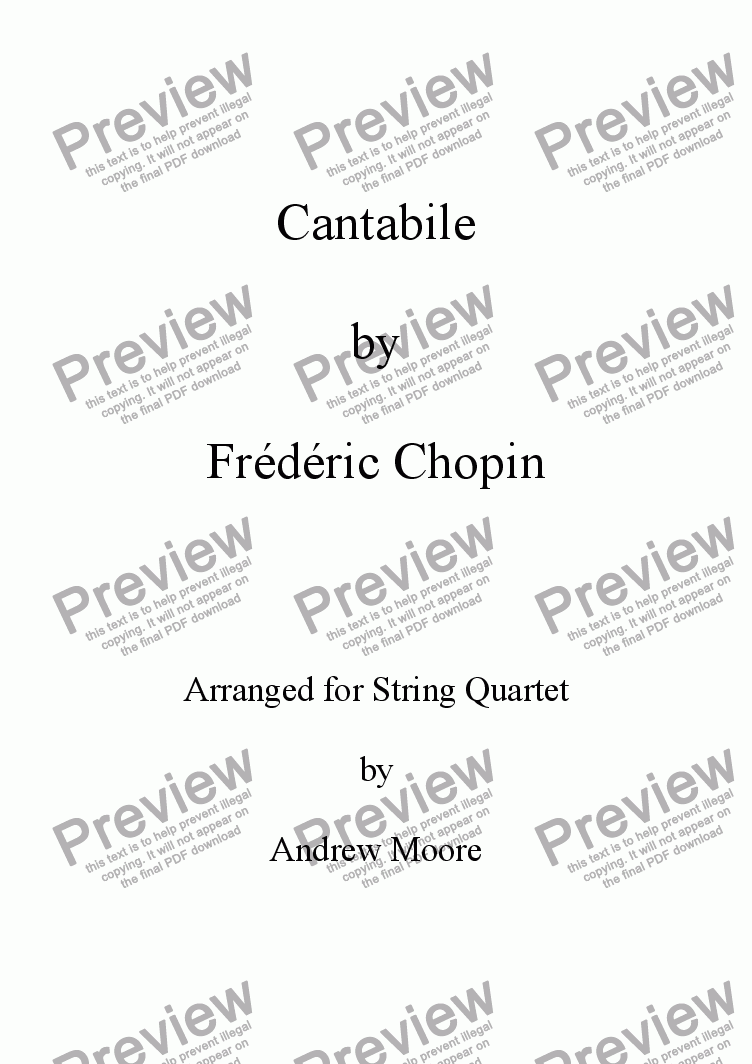 page one of 'Cantabile' for String QuartetASALTTEXT
