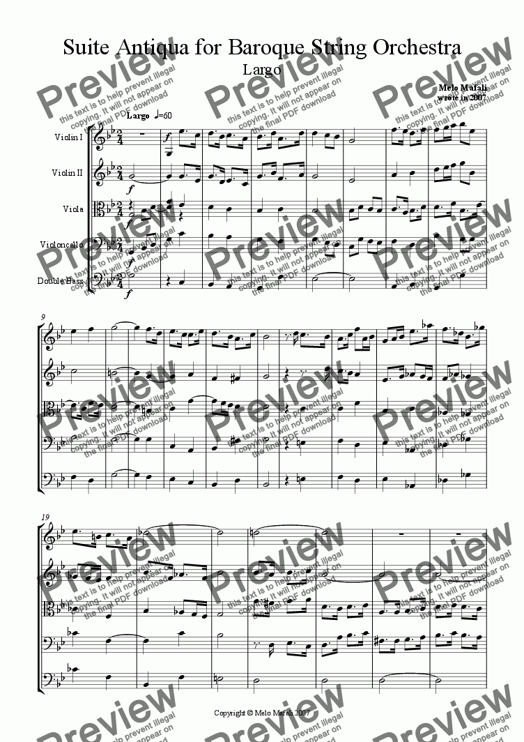 page one of Suite Antiqua for Baroque String Orchestra in G min