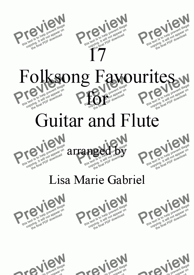 17 Favourite Folksongs For Flute And Classical Guitar Notation And Tab
