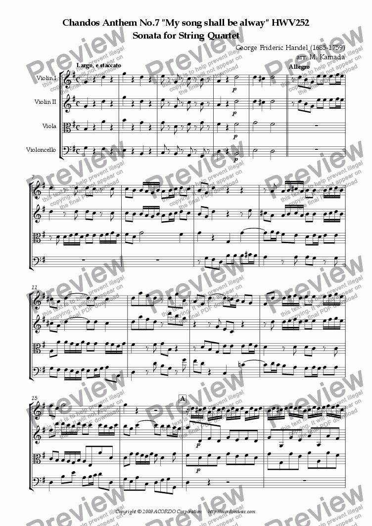 "page one of Chandos Anthem No.7 ""My song shall be alway"" HWV252 Sonata for String Quartet"