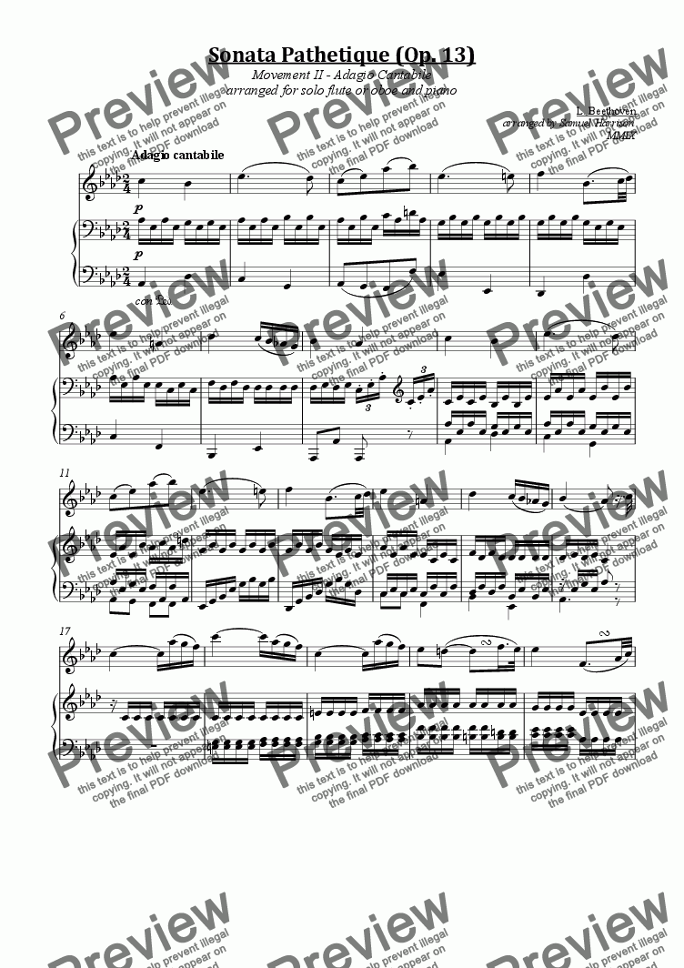 page one of Sonata Pathetique (Op. 13), Movement 2 II - Adagio Cantabe (for solo flute/oboe and piano)