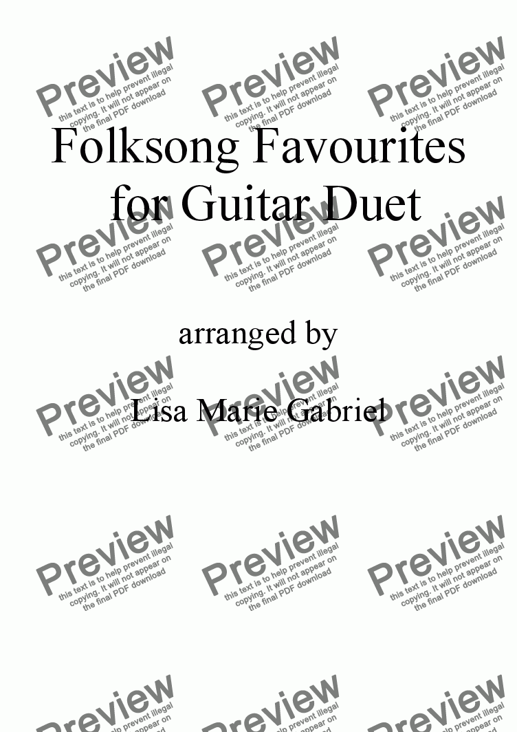 page one of 17 Favourite Folksongs for Guitar Duet with notation and TAB